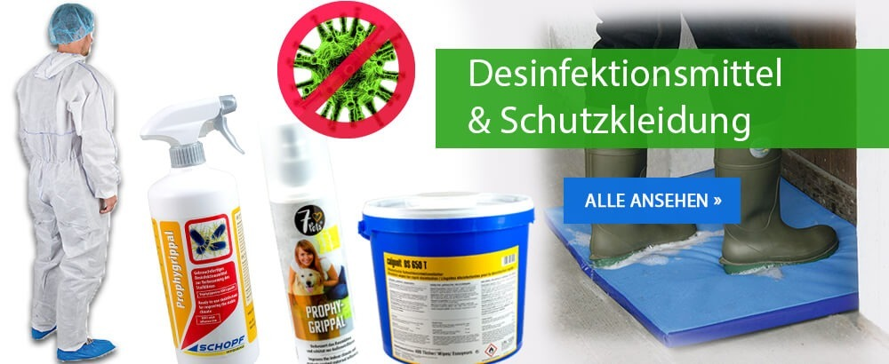 Desinfektionsmittel und Schutzkleidung