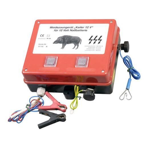 Weidezaun-Batteriegerät Keiler, mit Erdungsstab zum Anschluß an die Autobatterie