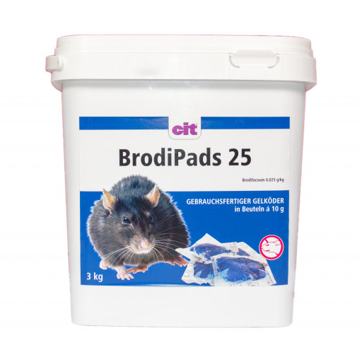 BrodiPads 25 ppm Gelpads 3 kg Brodifacoum Rattengift