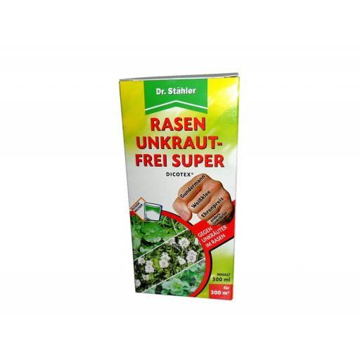 300 ml Dicotex® Rasen Unkraut-Frei Super von Dr. Stähler ist ein selektives Herbizid auf Rasenflächen. Es gibt Löwenzahn, Gänseblümchen, Klee, Ehrenpreis, Kreuzkraut, Ampfer, Gundermann keine Chance.