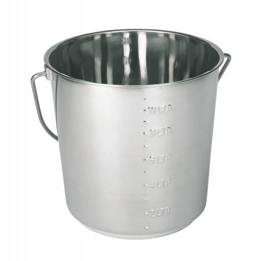 Edelstahleimer 12.3 Liter mit Skala - Eimer aus Edelstahl mit Tragegriff - Hochglanzpoliert!