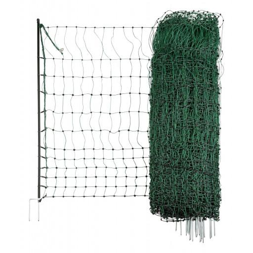 Hühnernetz mit Doppelspitze in grün. Länge: 25 m. Höhe: 1,12 m. Nicht elektrifizierbar.