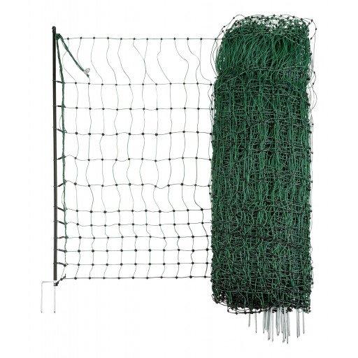 Geflügelnetz grün, elektrisch leitend 50 m / 112cm Doppelspitze - Hühnerzaun