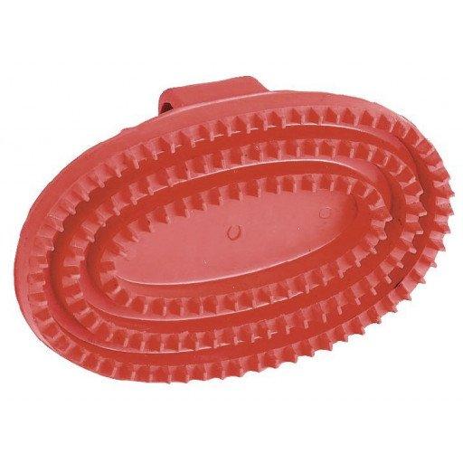 Gummistriegel Junior, oval, rot - Striegel mit Handschlaufe Gummi Pferde