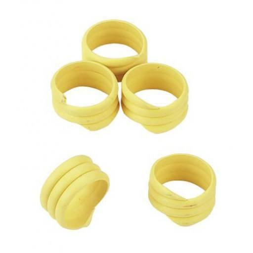 Extra starke Spiralringe mit 16 mm Durchmesser für Hühner, Puten, Fasane, usw in gelb - 20 Stück / Packung