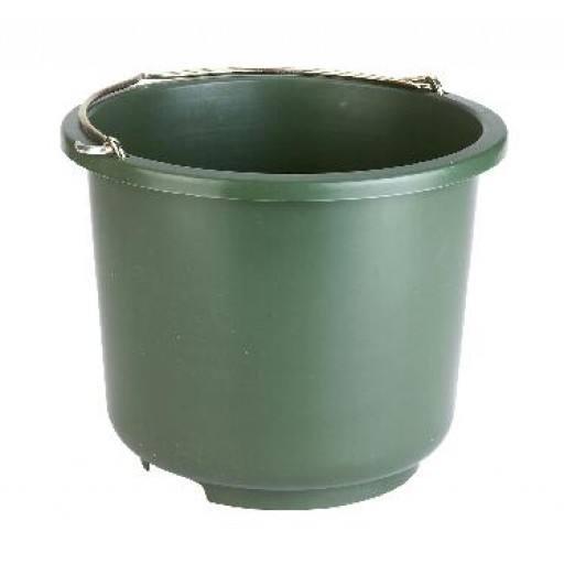 Stalleimer und Baueimer mit 12 Liter Fassungsvermögen. Sehr stabile Ausführung in olivgrün.