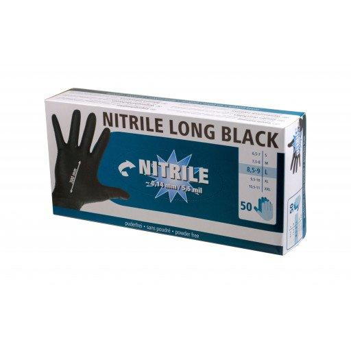 Nitrile Handschuhe Long Black 300 mml, 50 Stück, Größe L