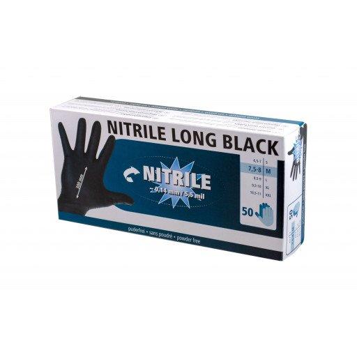 Nitrile Handschuhe Long Black 300 mml, 50 Stück, Größe M
