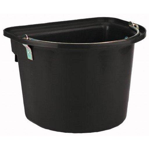 Stalleimer mit Metalltragegriff aus splitterfestem Kunststoff in schwarz. Füllmenge: 12 Liter. Auch als einhängbarer Futtertrog zu verwenden.