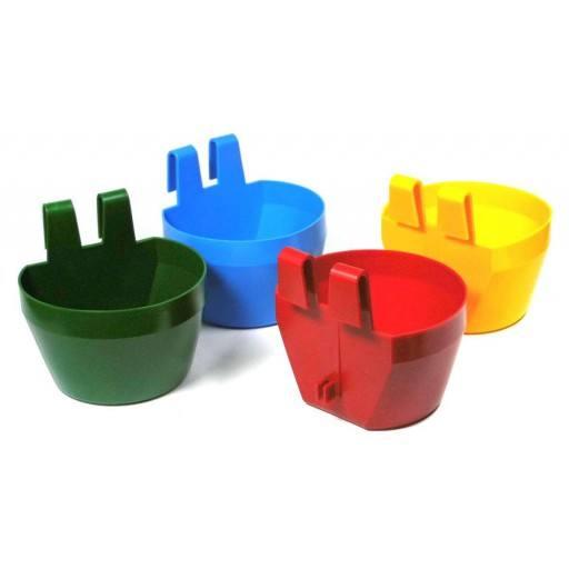 Tränk und Futternapf zum Einhängen aus Kunststoff, bestens geeignet für Ausstellungskäfige!