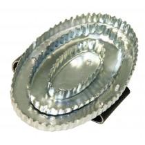 Reformstriegel oval, mit Handschlaufe Leder - Metallstriegel - Striegel Pferde Viehstriegel