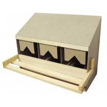 Legenest mit 3 Einzelnestern für mittlere und kleine Hühner. Mit ausziehbarer Schublade und Schrägdach, Oberteil