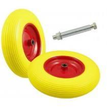 Pannensicherer Reifen aus Polyurethan,gelb/rot oder schwarz/rot, inkl. Achse und Buchsen-Set