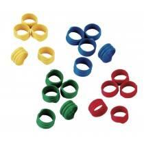 Spiralringe für Hühner, Puten, Fasane, usw. Mit 20 mm Durchmesser in verschiedenen Farben.