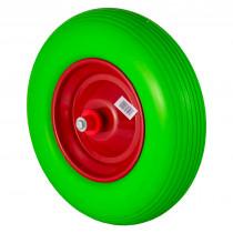 Pannensicherer Reifen 4.00-8 Schubkarrenrad PU Vollgummi Rad 400mm mit 25 mm Achse grün
