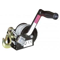 Seilwinde HAND WINCH mit 10 m Seil x 5 mm und manueller Bremse, 360 kg - zum Ziehen und Versetzen von Lasten,  Seilstärke 5 mm, stabile Zahnradkonstruktion verzinkt und schwarz eloxiert