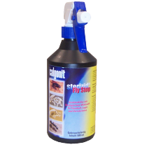 Blaue Calgonit Sterizid Fly Stop Flasche mit Sprühkopf