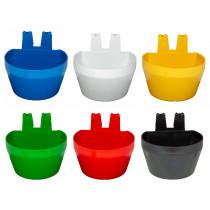 Tränk und Futternapf zum Einhängen - blau, weiß, gelb, grün, rot, schwarz
