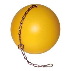 Ferkelball Anti Stress aus Kunststoff in gelb mit Aufhängekette