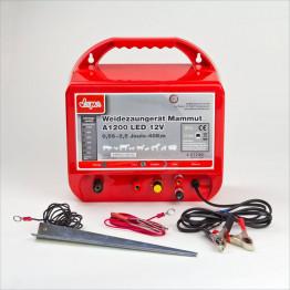 Weidezaungerät Akku A 1200 LED, 40 km Zaun, mit Anschluß für Autobatterie