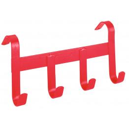 Trensenhalter, Metall, 4 Haken, rot