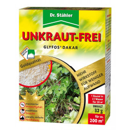 Dr. Stähler Glyfos Dakar Unkraut-Frei ist ein Totalherbizid mit maximaler Wirkstoffkonzentration als wasserlösliches Granulat. Durch die optimierte Wirkstoffaufnahme erreicht das Mittel eine schnelle und wurzeltiefe Wirkstoffverteilung in der Pflanze.