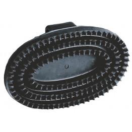 Gummistriegel Junior, oval, schwarz Striegel mit Handschlaufe aus Gummi Pferde