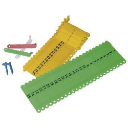 Ohrmarke Twintag, geprägt, rot, blau, gelb, grün, weiß für Ferkel, Lämmer und Schafe
