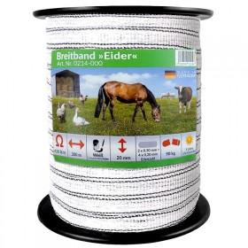 Weidezaunband 200 m x 2 cm, weiß, Leiter 4 x 0,20 + 2 x 0,30 Niro von Eider