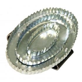Reformstriegel oval Handschlaufe Leder - Metallstriegel - Striegel Pferde Viehstriegel