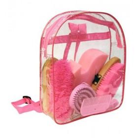 Putzrucksack 7 teilig blau oder pink mit Hufkratzer Schwamm Kardätsche Kamm Bürste