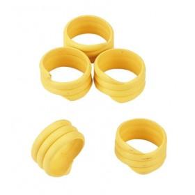 Hühnerringe gelb, 20 Stück - Spiralringe 16mm 3x gedreht für Hühner Geflügel Pute
