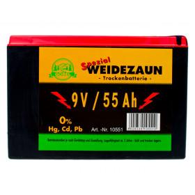 Batterie 9 Volt 55 Ah für Weidezaungeräte - Zink Kohle Batterie