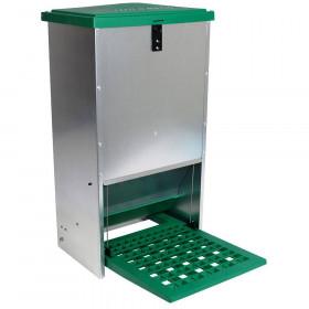 Feedomatic Futterautomat mit Trittklappe 20 kg Futtertrog für Hühner Puten Geflügel