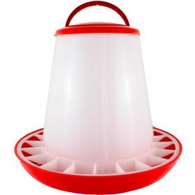 Geflügelfutterautomat bis zu 6 kg Futter mit Deckel rot/weiß