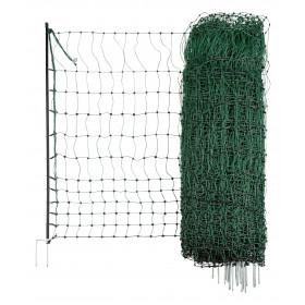 Geflügelnetz grün, elektrisch leitend 50 m / 112cm Doppelspitze