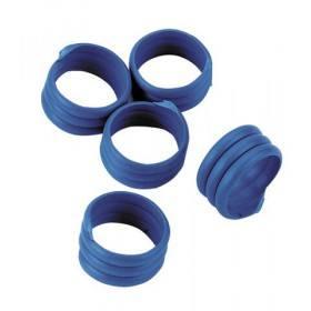 Hühnerringe in blau, 20 Stück - Extra starke Spiralringe 16mm 3x gedreht für Hühner Geflügel Pute