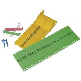 Ohrmarke Twintag, geprägt, rot, blau, gelb, grün, weiß - 50 Stück