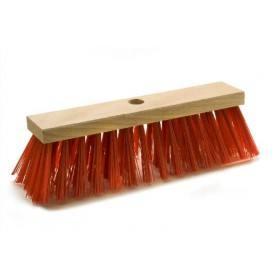 Straßenbesen 28 cm, Elaston rot, Flachholz