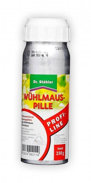 Wühlmauspille 250 g - Dr. Stähler - Bewährte Wühlmaus-Pille wirkt zuverlässig gegen Wühlmäuse und Schermäuse (Bild zeigt 45 g Packung)
