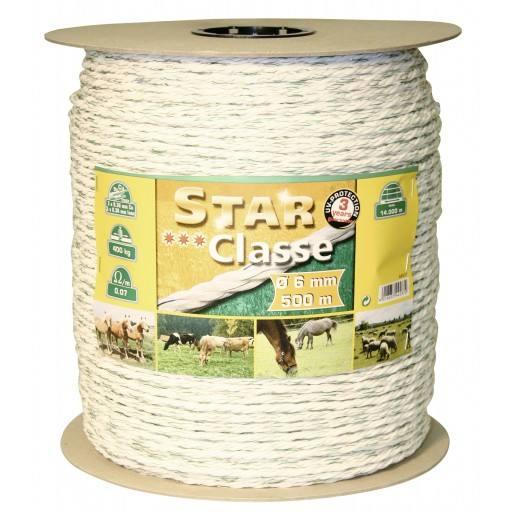 Rope braid 500 m, 6 mm, white/green, head 3 x 0.30 Niro + 3 x 0.30 Ku euro