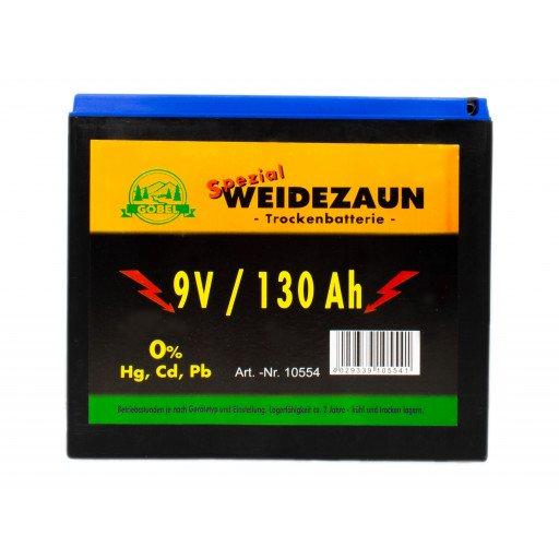 Weidezaun Batterie 9 Volt 130 Ah, ohne Quecksilber Kadmium und Blei
