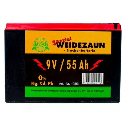 Weidezaun Batterie 9 Volt 55 AH Zink Kohle Trockenbatterie