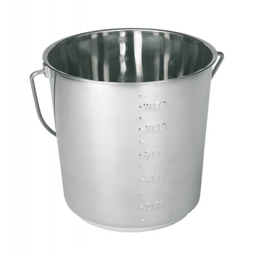 Stainless steel bucket 12.3 Litres with scaling
