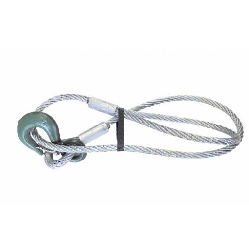 Wire rope with loop and hook, 1.50 m x 12 mm, 1250 kg