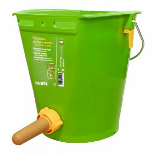 Hygienic drinking bucket with collapsible valve