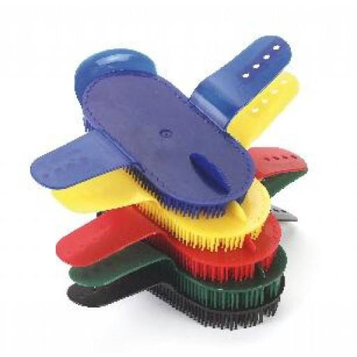 Colours assorted needle Curry comb, plastic, adjustable hand strap,