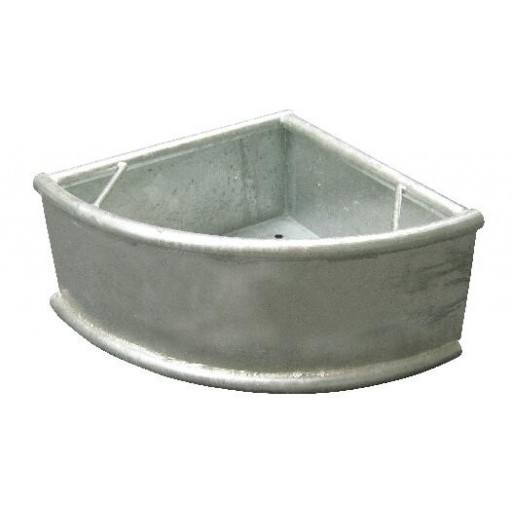 Horse feeding trough triangle trough, metal with rotating circular pipe