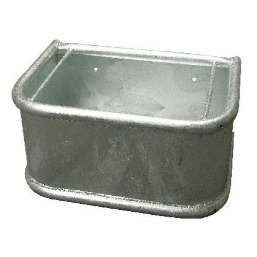 Horse feeding trough rectangle, metal with rotating circular pipe