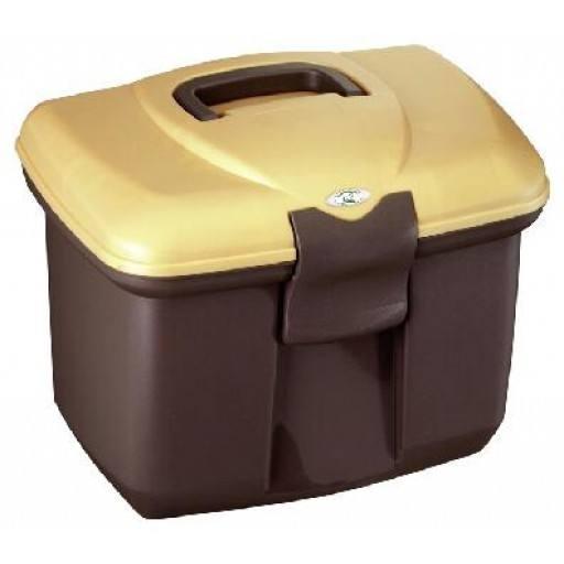 Plaster box, dark brown/gold